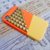 iphone bronze pyramid stud orange Hard Case For Apple iPhone 4 Case, iPhone 4s Case, iPhone 4 Hard Case,iPhone 4 GS case ,cover-070