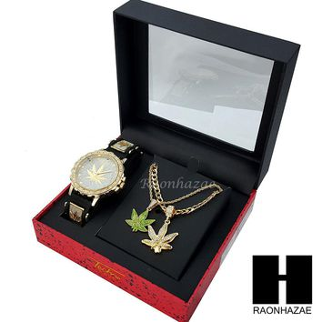 MEN ICED OUT MARIJUANA WATCH & DOUBLE PENDANT GOLD CUBAN ROPE CHAIN NECKLACE SET SS82