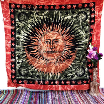 Sun and moon Tapestries, Tapestry Wall Hanging, Mandala Tapestry, Wall Art,Hippie Wall Tapestries, Indian Tapestry, Bohemian Dorm Decor