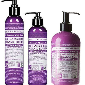 Dr. Bronner's Lavender 3 Piece Set, Hand and Lotion, Hand and Body Soap, and Hair Cream (3)