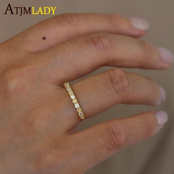 Tiny Delicate Gold Color Small Rings For Women Small Opal Cz Stone Girl Gift Simple Cute Finger Ring IN 100% 925 sterling silver