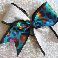 3 inch silver hologram turquoise multicolor cheetah print on black ribbon.