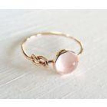 Women's Pink Moonstone 18K Rose Gold Filled Ring - SMS Brand - Free Shipping