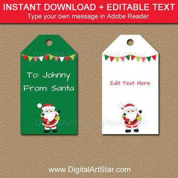 From Santa Tags, Santa Gift Tags, From Santa Stickers, Printable Santa Labels, Downloadable Christmas Tags Digital Christmas Tag Template C5