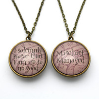 Double-Sided Harry Potter Necklace, I Solemnly Swear & Mischief Managed