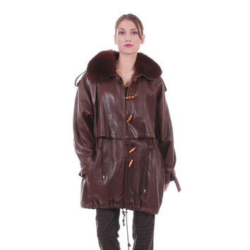 Vintage Leather + Fur Anorak Jacket Butter Soft Batwing Raglan Brown Cape Coat Oversized Retro Hipster Unisex 80s 90s Clothing Size Large XL