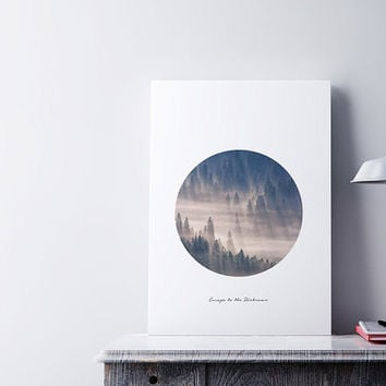 Forest Print, Forest Poster, Minimalist Art, Mountain Poster, Circle Art, Landscape Print, Escape Wall Art, Forest Illustration, Nature Art