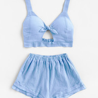 Knotted Keyhole Front Textured Crop Top With Shorts -SheIn(Sheinside)