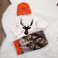 XMAS Baby Boy Girl Long Sleeve Romper Tops Cotton Pants Hat Cute Cotton 3pcs Outfits Set Boys Clothes