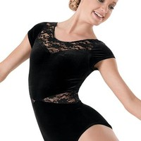 Lace Inset Plush Short-Sleeve Leotard | Balera™