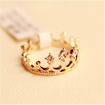 New gold crystal rhinestone crown finger ring ROYALTY PRINCESS Gold Plated