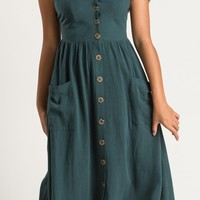 Mindy Hunter Green Button Midi Dress