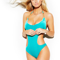 Cutout Velvet One Piece w. Gold Loops