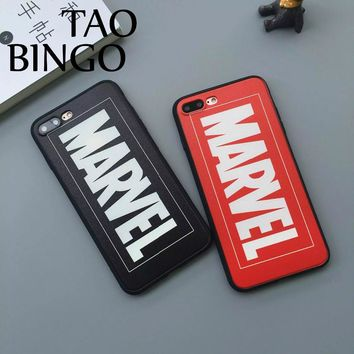 Fashion Lette Marvel Logo Case For iPhone 8 Case For iPhone 7 Case 6 6s 6plus super hero Soft Protective Phone Case Cover Fundas
