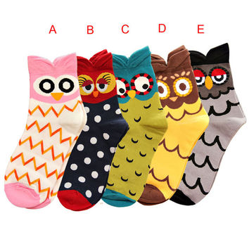 Durable Autumn Winter Fashion New Women Cute Owl Socks Casual Cotton Socks Hot