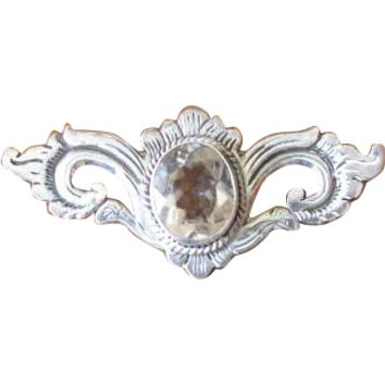 Vintage Crystal Wing Pin in Sterling Silver