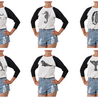 Women's Sea Animals Printed Elbow Sleeves T- Shirt WTS_03