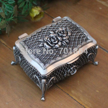 New Arrival Free Shipping Fashion European Style Metal Jewelry Case Zinc-aloy Trinket box Gift Packing Vintage Jewelry Storage