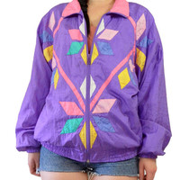 vintage 90s purple windbreaker nylon jacket bubble ski jacket bomber club kidd lilac pastel grunge kawaii raver medium