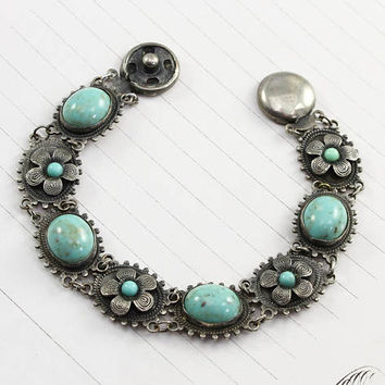 Art Deco Flower Bracelet, Flower Motif Turquoise Art Glass Silver Tone Circa 1925, Bohemian Wedding Bride Bridal Jewelry, Something Blue