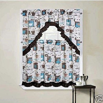 "Colorful 3 Piece Cappuccino Blue Kitchen Curtain Set With Swag and 36""L Tiers"