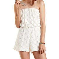 White Strapless Floral Lace Romper by Charlotte Russe