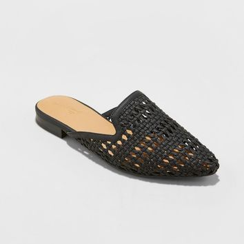 Women's Whisper Woven Backless Slip On Mules Mules - Universal Thread™