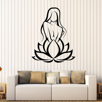 Vinyl Wall Decal Lotus Flower Girl Beauty Salon Woman Stickers Unique Gift (413ig)