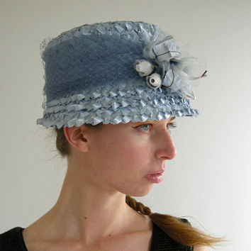 Baby Blue Flowers Vintage 60s Womens Hat by empressjade on Etsy