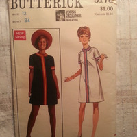 Uncut 1960's Butterick Sewing Pattern, 5178! Size 12 Bust 34 Medium/Women's/Misses/Prue Acton Designer Fashion/A-line Step-in Dress