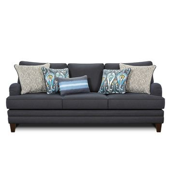 Chelsea Genoa Sofa In Milan Navy with Ikat Bands Indigo/Akana Weave Storm/Ombre Panel Indigo Pillows