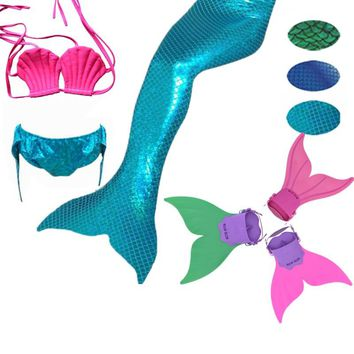 Girls Kids/Children Mermaid Tail With Monofin Bikini Bathing Suit Fancy Swimmable tails Wear Cosplay Costumes Clothing 2017 New