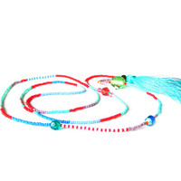 Turquoise Tassel Necklace - Long Seed Bead Necklace - Beaded Necklace - Hippie Necklace - Beach Necklace - Tribal Necklace