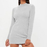 Missguided - Gray Fluffy Roll Neck Sweater Dress
