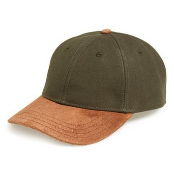 Men's rag & bone Suede Brim Baseball Cap, Size 1 - Green
