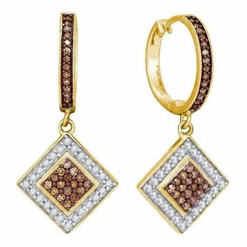 10kt Yellow Gold Women's Round Cognac-brown Color Enhanced Diamond Diagonal Square Dangle Earrings 1-2 Cttw - FREE Shipping (USA/CAN)