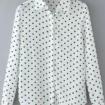 White Polka Dot Shirt Collar Long Sleeve Blouse