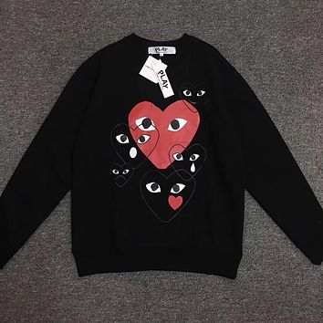 Women Mens CDG Play Fashion Long Sleeve T-Shirt Black