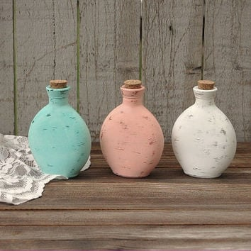 Decorative Bottles, Shabby Chic, Painted, Mint Green, Coral, White, Beach Decor, Hand Painted, Distressed, Glass