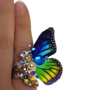 Steampunk ring, butterfly ring, rainbow ring, silver steampunk, filigree ring, cocktail boho ring,  OOAK, magic ring, watch gear ring