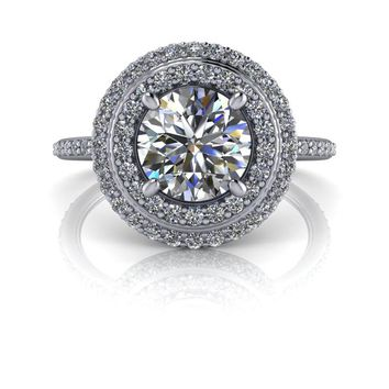Free Center Stone! Customize Your Engagement Ring - Double Diamond Halo Engagement Ring Round Colorless Moissanite