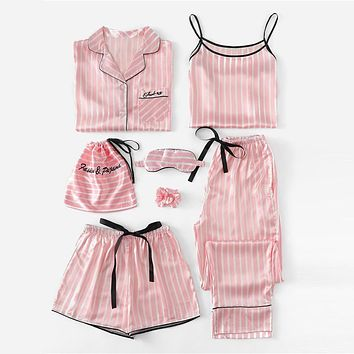 Pink 7Pcs Letter Embroidered Striped PJ Set With Shirt Pajamas For Women 2019