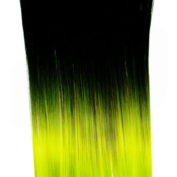 Ombre Lime Green Dip Dyed 7pcs Straight Clip-In Hair Extensions