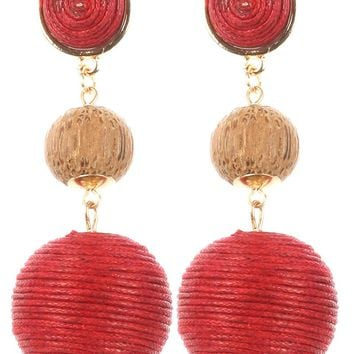 Red Color Cord Wrapped Chunky Ball Trio Earring