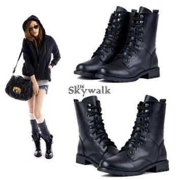 New Black Women's Lace-up Ankle Military Army Combat Boots Shoes Punk SYL6