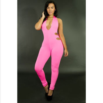 Pink Deep V Halter  Double Side Cut Out Backless Jumpsuit