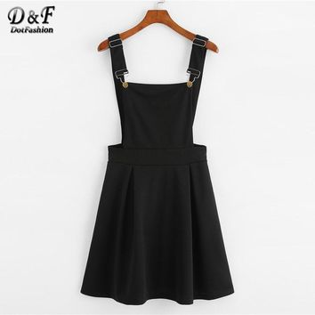 Dotfashion Button Pleated Zip Up Back Pinafore Dress 2018 Spring Fall Straps Sleeveless Dress Women Weekend Casual Short Dress