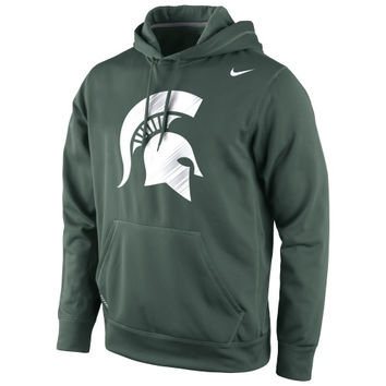 Michigan State Spartans Nike Warp Logo Therma-FIT Hoodie - Green