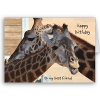 Giraffes Happy Birthday Best Friend, blank inside from Zazzle.com