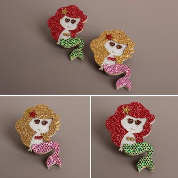 New Girls Hair Accessories Fashion Baby Hairpins Cute Flash Cartoon Mermaid Children Headwear Princess Barrette kids Hair Clips
